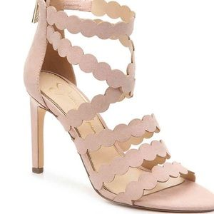 Jessica Simpson blush pink scalloped heel sandals
